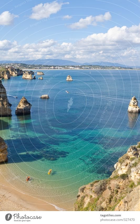 Portugal - Algarve - Lagos - Praia do Camilo rock salt Vacation & Travel Travel photography Idyll Card Tourism Paradise Beach Sand Ocean Atlantic Ocean Water