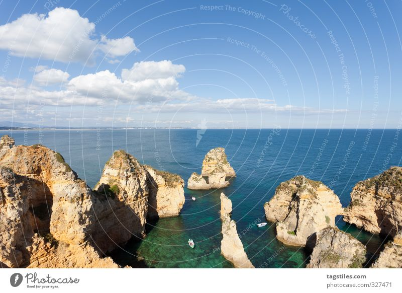 Nature Vacation & Travel Ocean Landscape Relaxation Freedom Coast Travel photography Rock Idyll Tourism Bay Card Paradise Portugal Atlantic Ocean