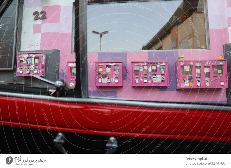 Window Art Pink Retro Infancy Shopping Candy Kitsch Surprise Nostalgia Sell Vintage car Odds and ends Chewing gum Condom Game of chance