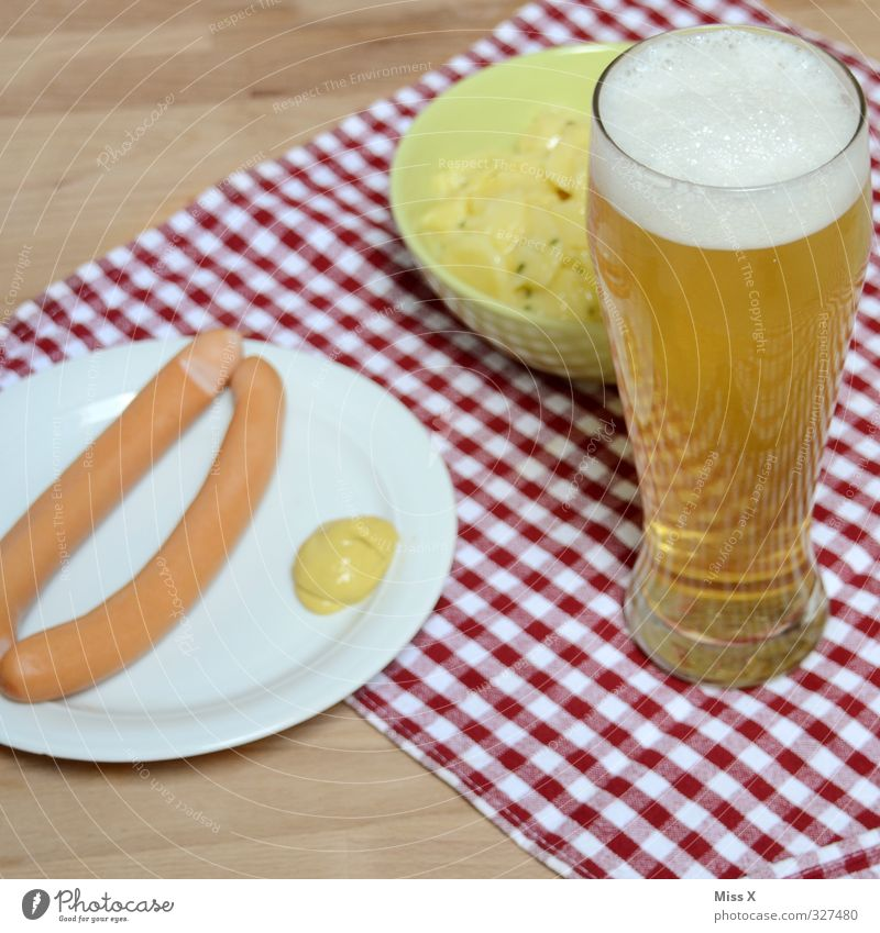 Feasts & Celebrations Food Glass Nutrition Beverage Beer Delicious Crockery Alcoholic drinks Bavaria Dinner Checkered Tablecloth Oktoberfest Sausage Vice