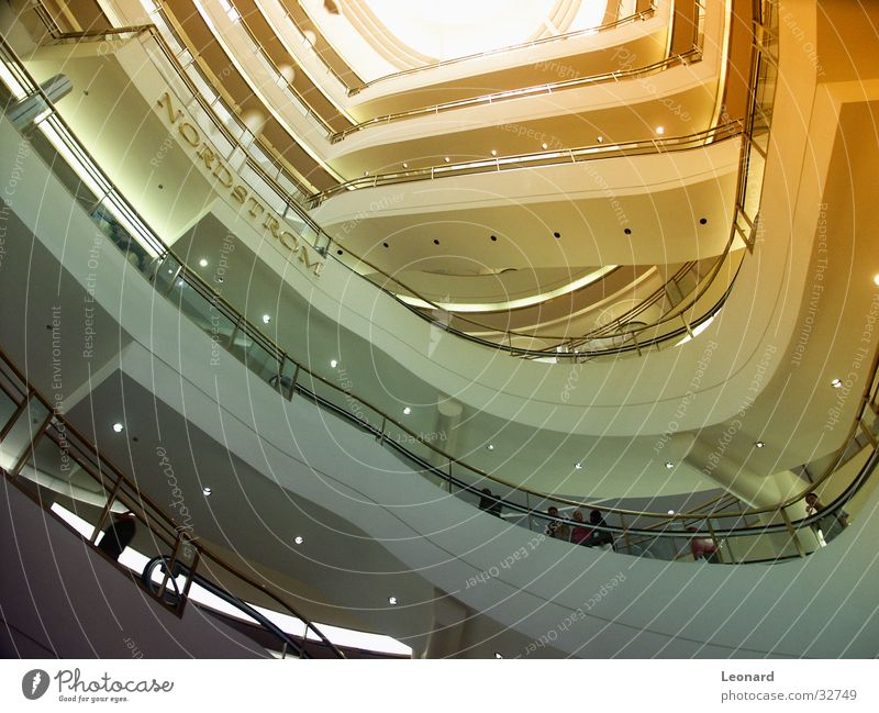 department store Shopping center Shopping malls Light Architecture Modern architecture Worm's-eye view Upward Forum Round construction Interior shot