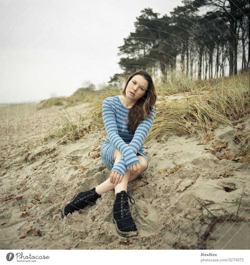 Young woman sitting on Baltic Sea dune Style Joy Beautiful Life Trip Adventure Youth (Young adults) Adults 18 - 30 years Landscape Plant Autumn
