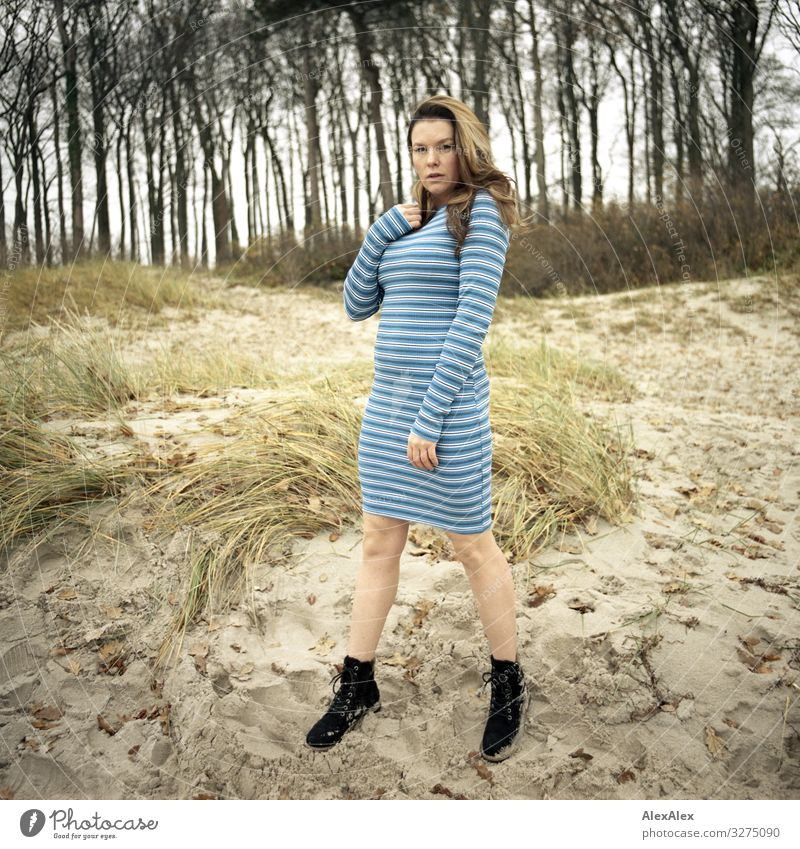 Young woman standing on a dune on the beach Style Joy Beautiful Life Trip Adventure Youth (Young adults) Adults 18 - 30 years Landscape Beautiful weather Tree