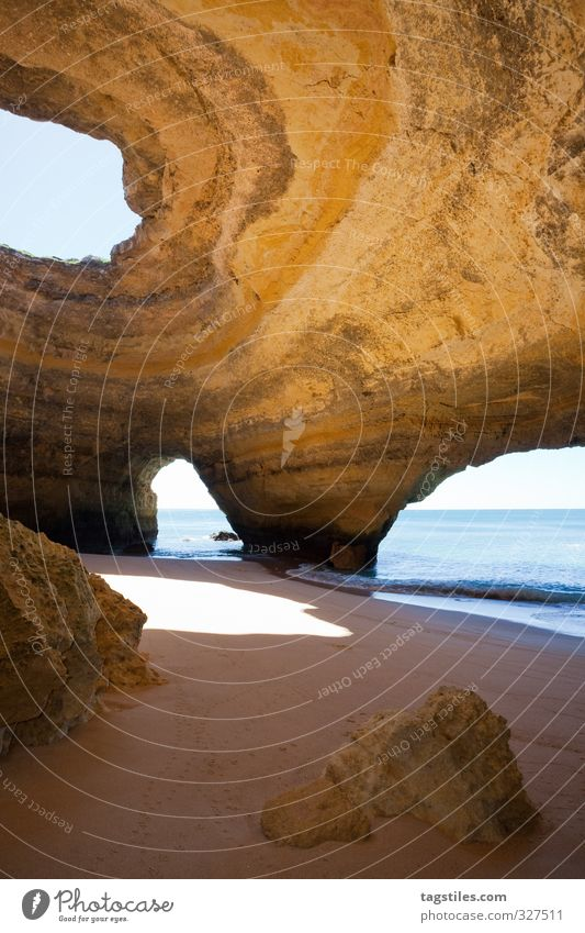 Nature Vacation & Travel Water Ocean Beach Coast Travel photography Natural Rock Idyll Tourism Card Heavenly Sandy beach Portugal Wilderness