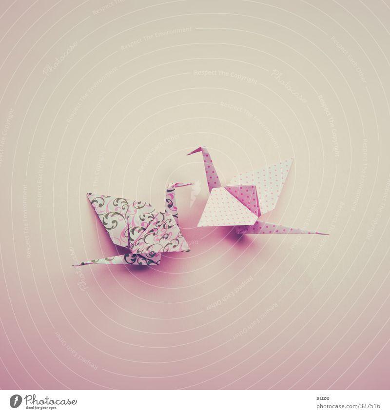 gracefulness Design Leisure and hobbies Handicraft Decoration Flirt Art Animal Bird Pair of animals Paper Rutting season Flying Esthetic Kitsch Small Cute Pink