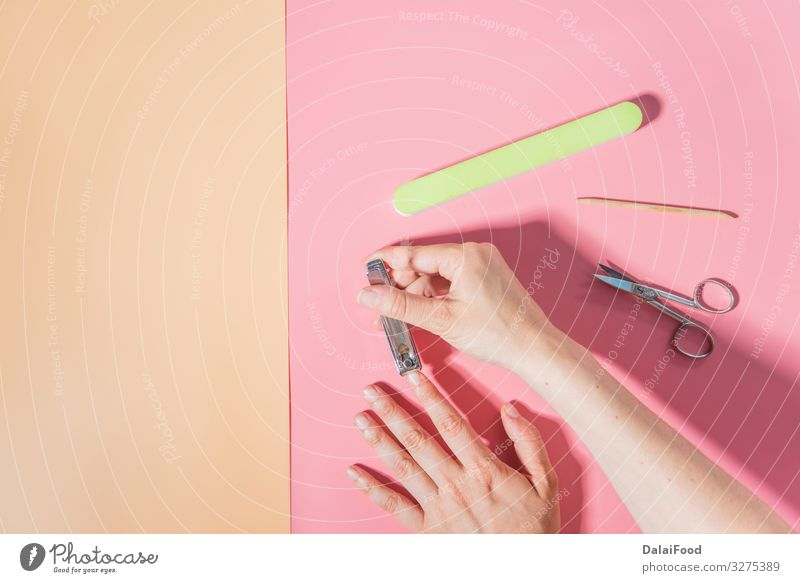 Nail cutter macro detail pink background Lifestyle Beautiful Body Skin Manicure Tool Scissors Human being Woman Adults Hand Fingers Metal Steel Clean White
