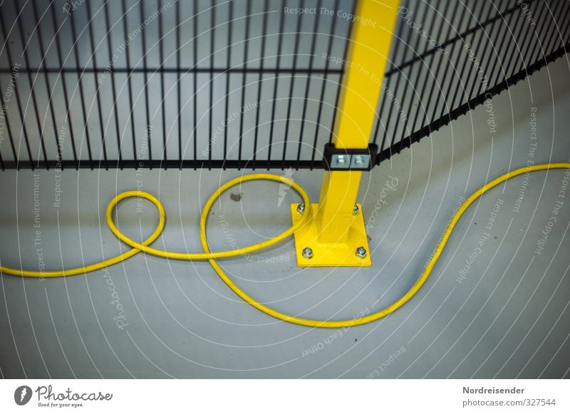 Blue Black Yellow Line Metal Background picture Work and employment Technology Safety Industry Cable Network Factory Fence Barrier Grating