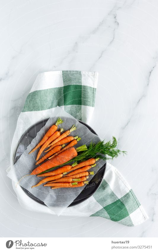 Delicious roasted carrots from above Food Vegetable Herbs and spices Lunch Dinner Vegetarian diet Diet Healthy Eating Fresh Natural Above Orange Carrot