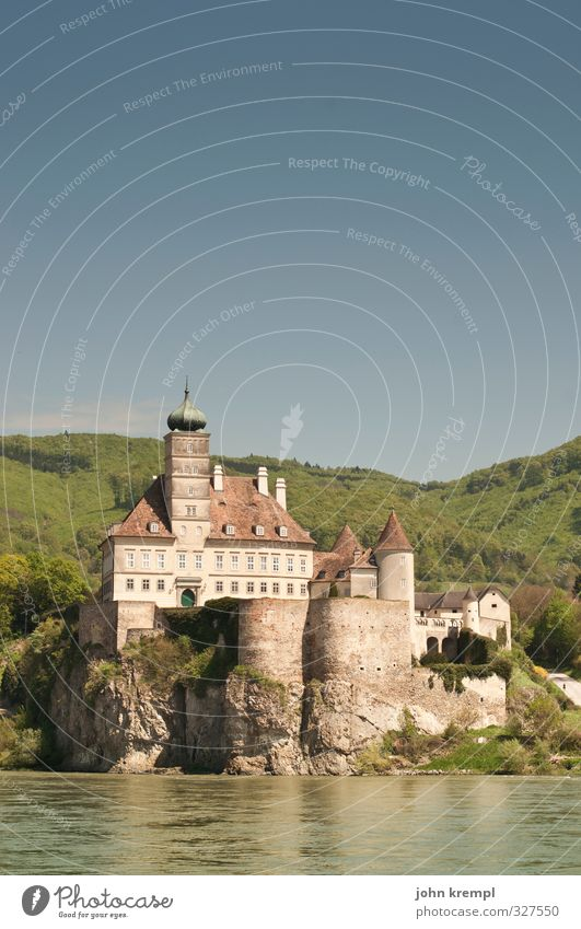 Schönbühel Castle Cloudless sky River Danube Wachau Tourist Attraction Navigation Inland navigation Passenger ship Swimming & Bathing Old Historic Beautiful