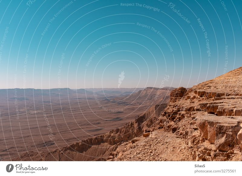 Negev 01 Israel Nature Landscape Elements Earth Sand Sky Cloudless sky Beautiful weather Hill Rock Canyon Desert Warmth Blue Brown Colour photo Exterior shot