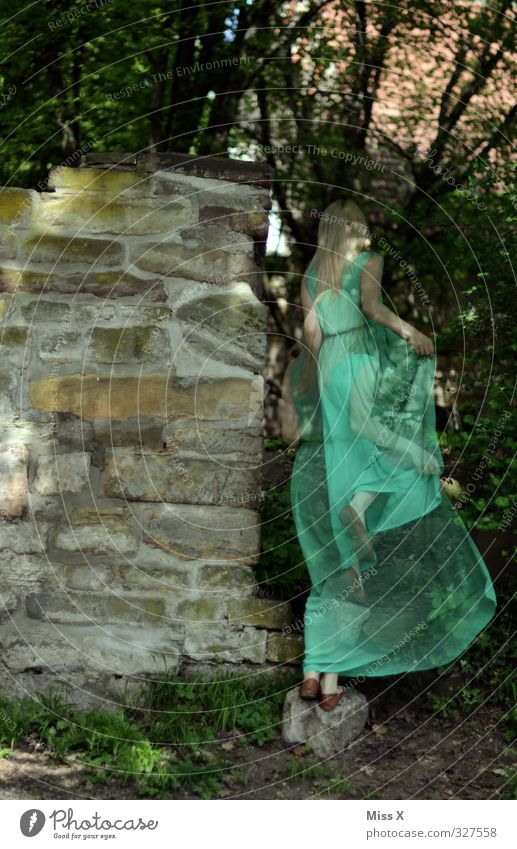 forest spirit Human being Feminine Woman Adults 1 18 - 30 years Youth (Young adults) Tree Forest Castle Ruin Wall (barrier) Wall (building) Walking Green Moody