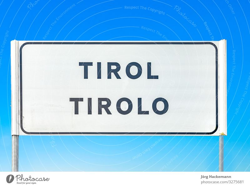 street sign of village of Tirolo in Tyrol Sky Village Town Street Blue Italy South tirolo Federal State of Tyrol Signage Colour photo Day