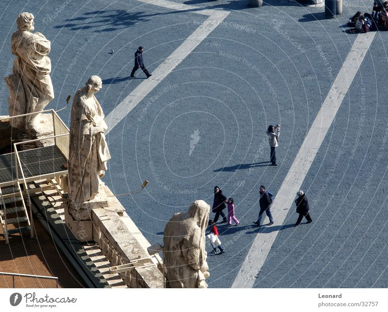Human being Man Religion and faith Group Lamp Places Roof Italy Statue Cobblestones Holy Ladder Terrace Sculpture Tourist Rome