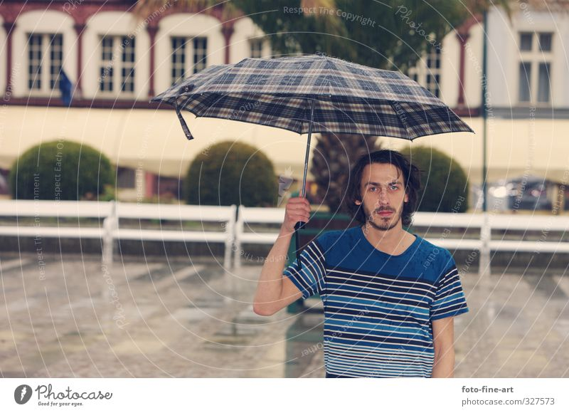Human being Youth (Young adults) City Loneliness Adults Young man 18 - 30 years Rain Masculine Europe T-shirt Umbrella Fatigue Storm Brunette Long-haired