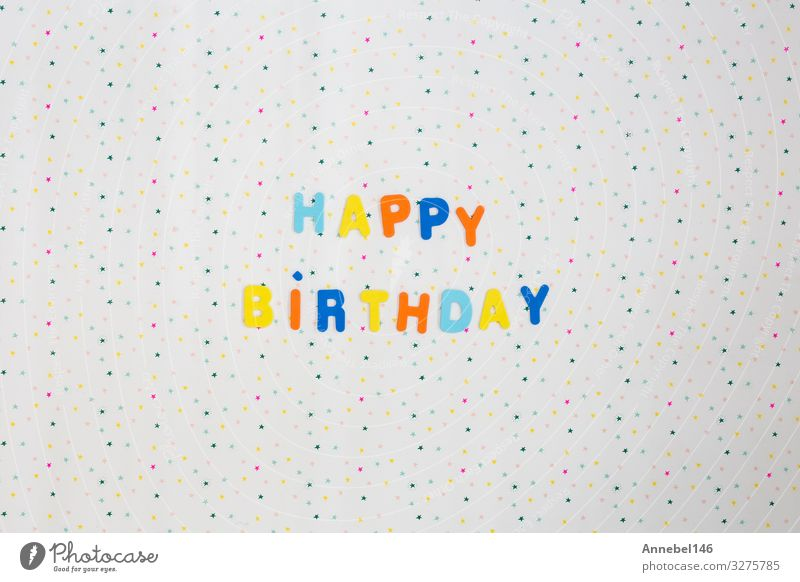Colorful happy birthday wishes with stars on white background Design Joy Happy Decoration Feasts & Celebrations Birthday Art Paper Candle Balloon String Bright