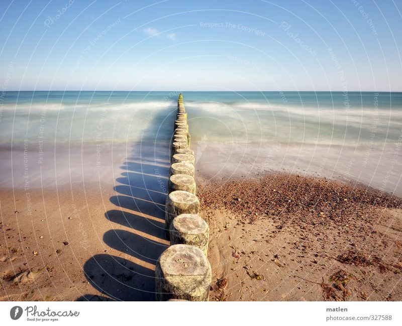 East Sea Landscape Elements Sand Air Water Sky Cloudless sky Horizon Sun Weather Beautiful weather Waves Coast Beach Baltic Sea Blue Brown steadily Break water