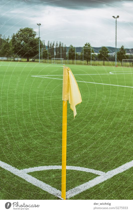 corner flag Playing Ball sports Sporting event Soccer Sporting Complex Football pitch Stadium Meadow Signs and labeling Flag Sports Athletic Yellow Green White