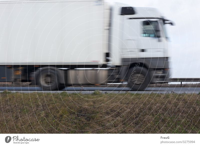 dynamic | truck on the move Street Highway Road traffic Transport Traffic infrastructure Roadside Motoring Means of transport Speed Driving Motion blur Movement