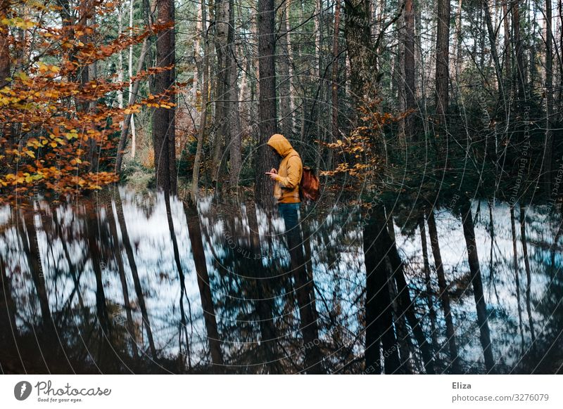 lost Human being Masculine 1 Surrealism Reflection PDA Forest Nature Search Doomed Lost Loneliness Backpack Hiking Lanes & trails Tree Colour photo