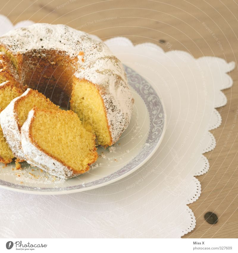 Feasts & Celebrations Food Birthday Nutrition Sweet Delicious Breakfast Cake Tablecloth Birthday cake To have a coffee Confectioner`s sugar Gugelhupf