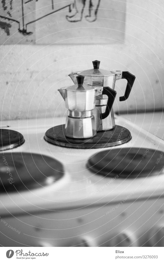 Good morning Living or residing Kitchen Stove & Oven Coffee maker bialetti Espresso maker Silver Hot plate Black & white photo Interior shot Deserted
