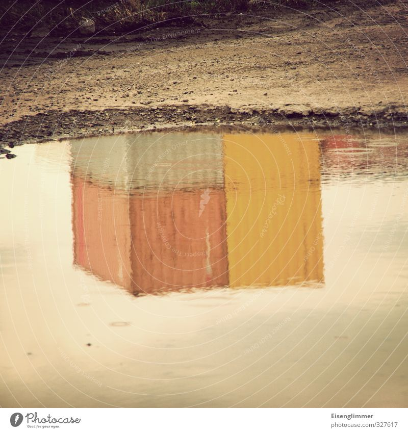 WILHELMSBURG/Container II Harbour Wet Puddle Logistics Mirror image Storage area Colour photo Subdued colour Exterior shot Abstract Deserted Copy Space top