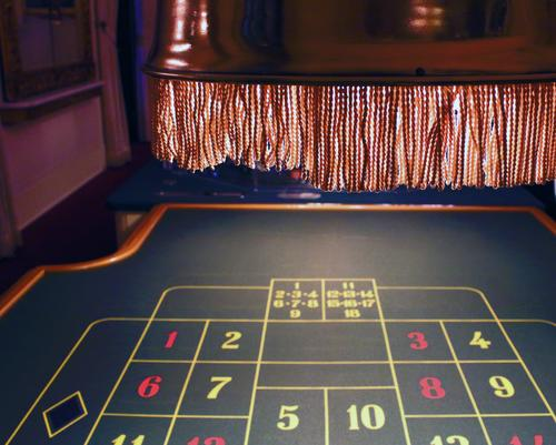 Roulette look at the tableau above hanging lamp in copper with fringes Brown Yellow Green Red Black White Doomed Risk Deployment Tension Money Lighting