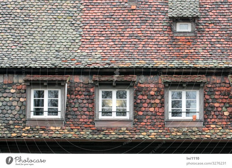 shingle roof Strasbourg Manmade structures Building Facade Window Roof Eaves Tourist Attraction Brown Multicoloured Green Black Turquoise White Roofing tile