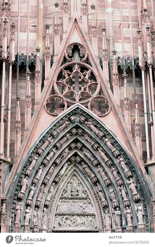 Strasbourg Cathedral Strasbourg cathedral Church Dome Facade Tourist Attraction Landmark Monument Exceptional Sharp-edged Gigantic Historic Section of image