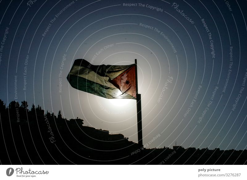 Flag of Jordan in the capital Amman Vacation & Travel Tourism Trip Adventure Far-off places Sightseeing City trip Summer Summer vacation Sun Town Capital city