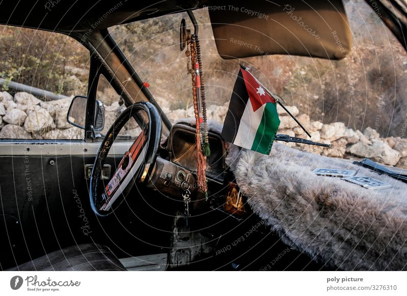 Interior old taxi in Jordan, with Jordanian flag on windshield Vacation & Travel Tourism Trip Adventure Far-off places Sightseeing City trip Summer