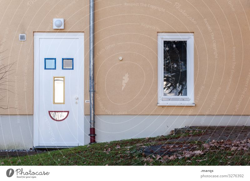 Laughing Door Laughter Welcome at home Facade Smiley Safety (feeling of) Domestic happiness Family Window dwell Joy Appealing Friendliness front door Positive