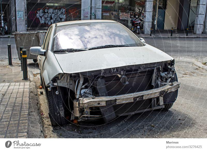 Damaged car Engines Transport Street Vehicle Car Metal Insurance accident damage front Repair crash Scrap Collision render broken Abstract