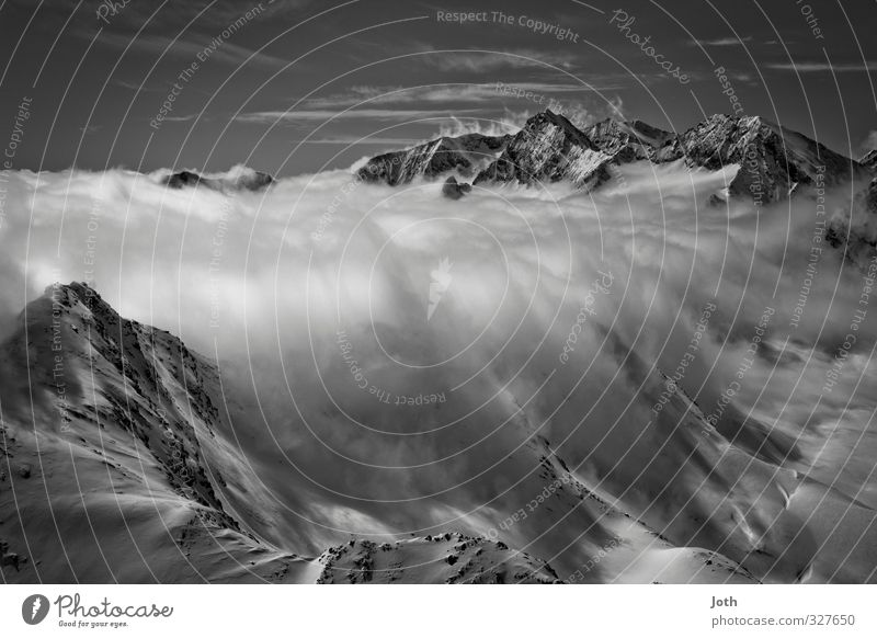 cloud dam Landscape Winter Weather Snow Alps Mountain Snowcapped peak Infinity Climate Black & white photo Exterior shot Day Shadow Contrast Panorama (View)