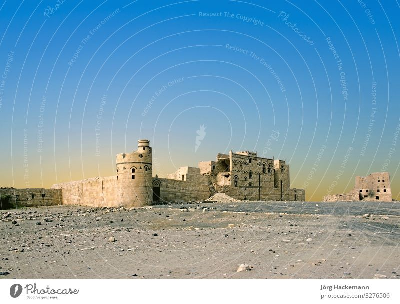 Sabaean Wall on Diga Ruins at Marib, Yemen Tourism Sky Old Blue Age Arabia arabic Asia Damage Heavy North Sandstone vintage wall Colour photo Day