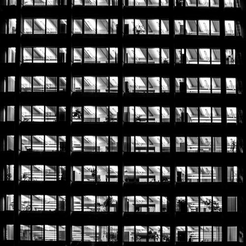 typical generic offices at night Work and employment Profession Office Business High-rise Facade Success Austria empty light Characteristic Vienna