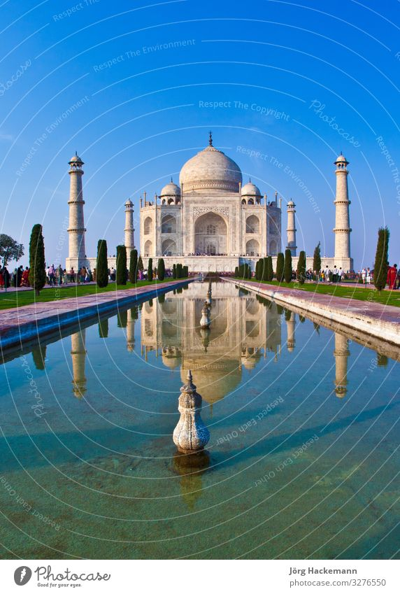 Taj Mahal in India Beautiful Vacation & Travel Tourism Culture Landscape Sky Palace Places Building Architecture Monument Love Blue White Religion and faith
