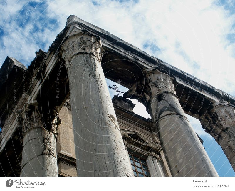 Sky Clouds Stone Building Architecture Back Italy Rome Insolvency Column Temple