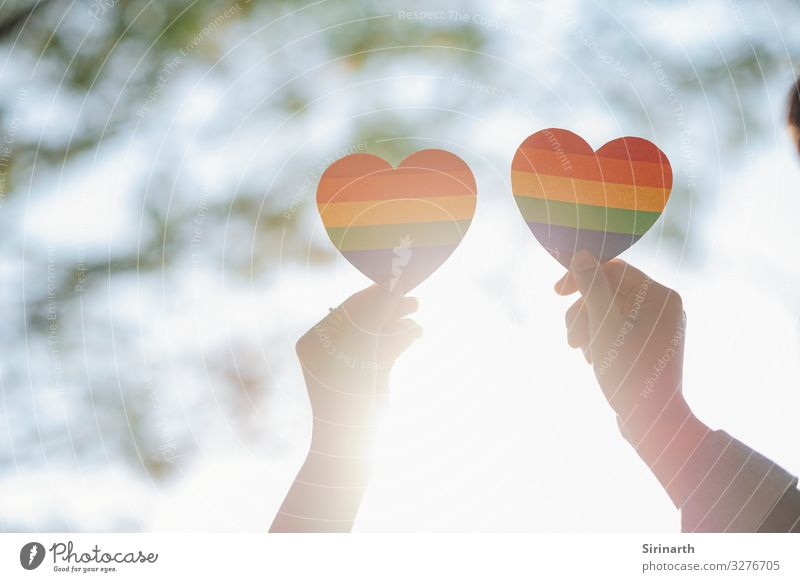 Close up hand of LGBTQ couple holding rainbow heart. Love Family & Relations Couple Lovers Homosexual Rainbow Social Sexuality Recklessness Gender Transgender
