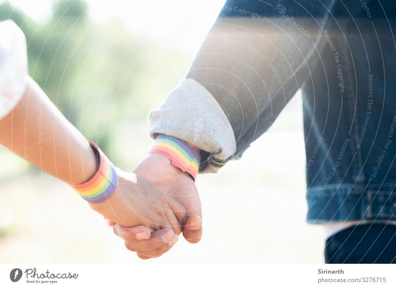 Couple of LGBT holding hands walking in the park. Love Family & Relations Lovers Homosexual Rainbow Sexuality Recklessness Gender Transgender