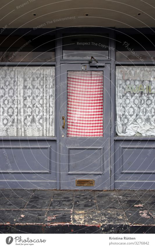 take avail Restaurant Architecture Window Door Retro Town Past Closed Uninhabited Entrance Curtain Checkered Insolvency Subdued colour Exterior shot Day