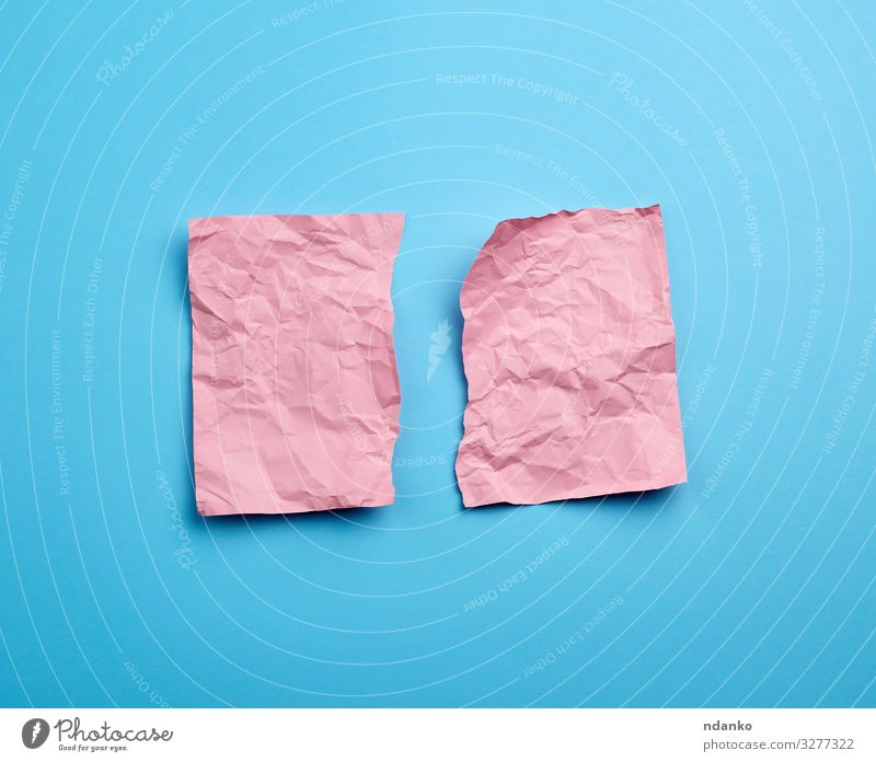 crumpled pink sheet of paper Paper Piece of paper Blue Pink empty textured backdrop Surface Ragged Damage Consistency background Torn edges Communication