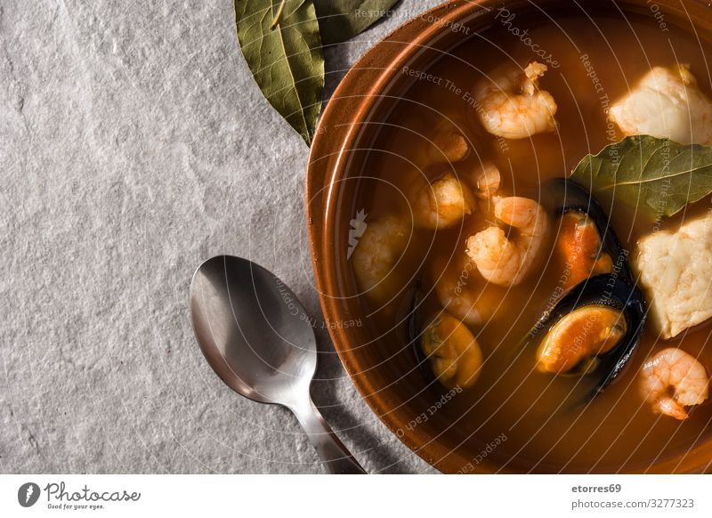 French bouillabaisse soup Cooking Soup Fish Seafood Food Healthy Eating Food photograph Shrimps Prawn skewers Gourmet served recipe Christmas & Advent Plate