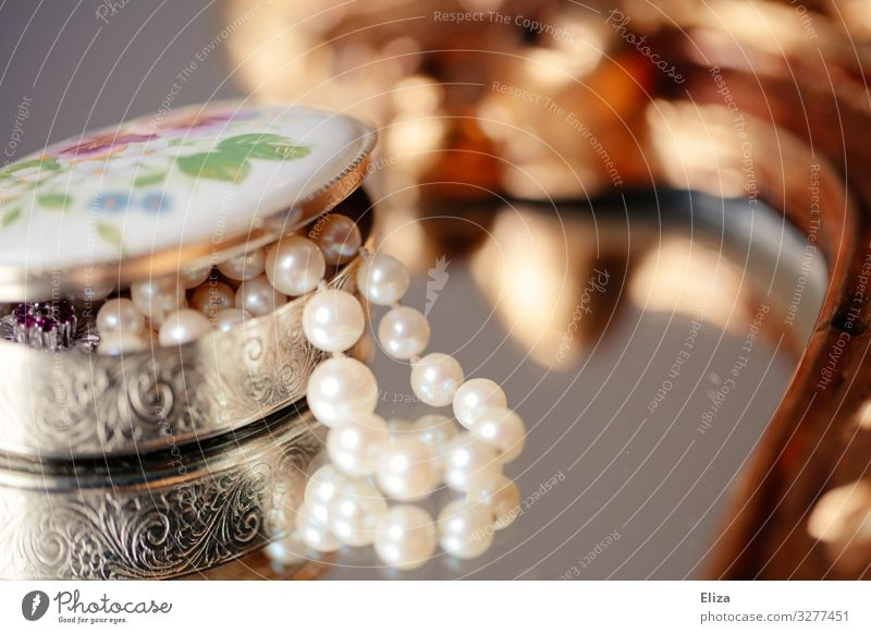 heirloom Accessory Jewellery Luxury Legacy Pearl necklace Jewelry box Reflection Mirror Beautiful Vintage Retro Old Silver Kitsch Precious Keep Colour photo