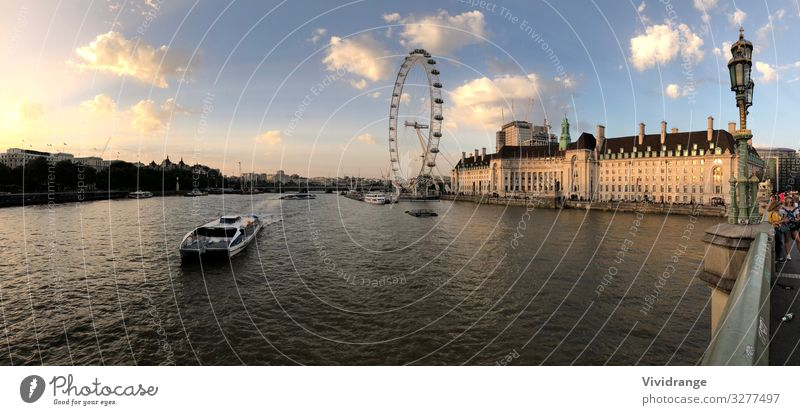 London Eye, United Kingdom Architecture Water Sky Clouds River bank Town Capital city Bridge Tourist Attraction Landmark Watercraft Metal Blue Emotions Romance