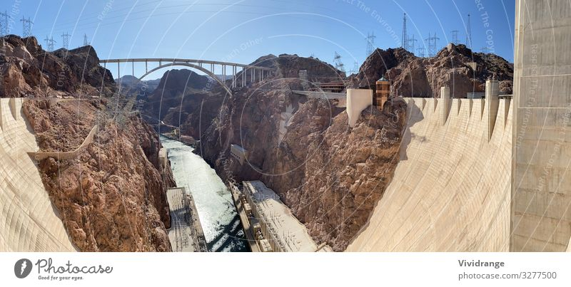 Hover Dam and wide view of Colorado River, Nevada and Arizona Vacation & Travel Tourism Trip Sightseeing Mountain Energy industry Renewable energy Water Canyon
