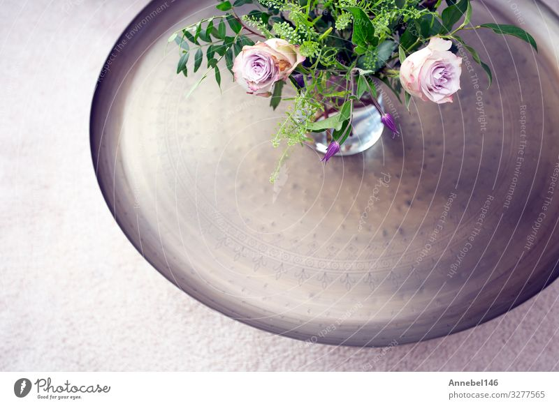 Silver tray with purple roses in vase on a table against luxury Bowl Luxury Design Body Medical treatment Life Spa Table Flower Blossom Fashion Wood Fresh