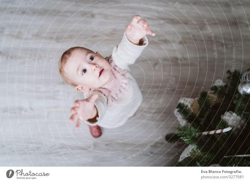 cute baby girl decorating the Christmas tree Cute Baby Girl one year Christmas & Advent Tree Joy Family & Relations Love Decoration Infancy motherhood