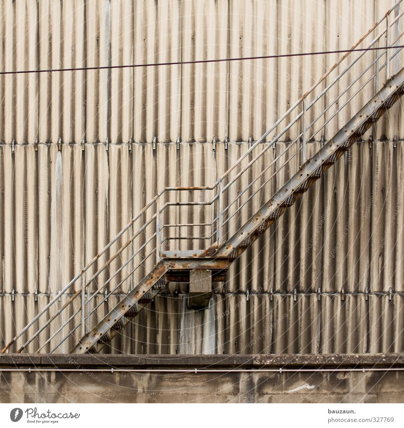 Old Wall (building) Architecture Wall (barrier) Gray Building Metal Line Going Facade Stairs Energy industry Concrete Industry Agriculture Factory