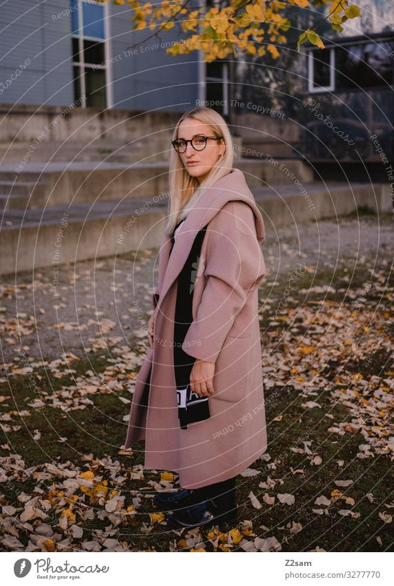 L. Lifestyle Elegant Style Feminine Young woman Youth (Young adults) 18 - 30 years Adults Nature Landscape Autumn Bushes Leaf Park Fashion Coat Eyeglasses